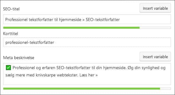 skærmbillede SEO by Yoast. Øg online synlighed. beritbai.dk