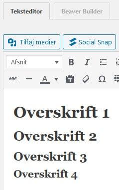 Overskrifter i WordPress. beritbai.dk