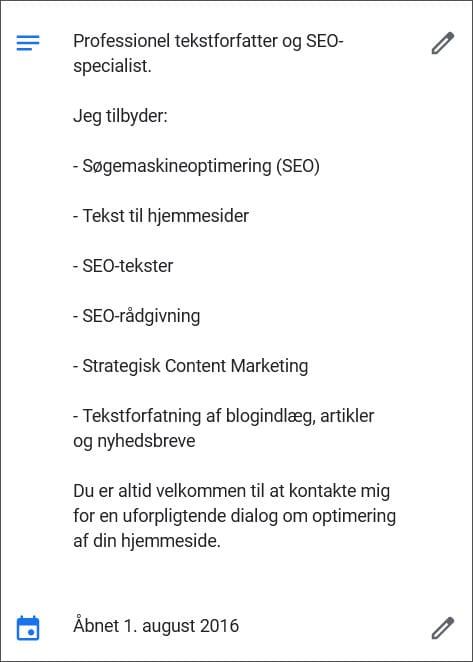 Eks. på virksomhedsbeskrivelse i GMB - beritbai.dk