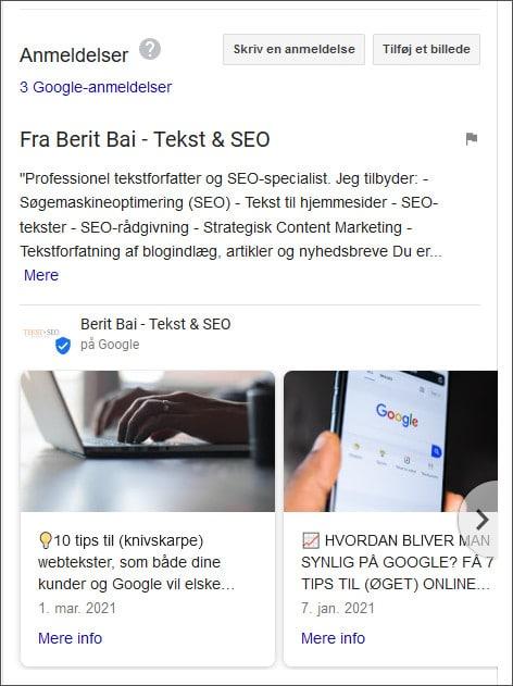 Eks. på visning i SERP af Google My Buiness opslag - Berit Bai
