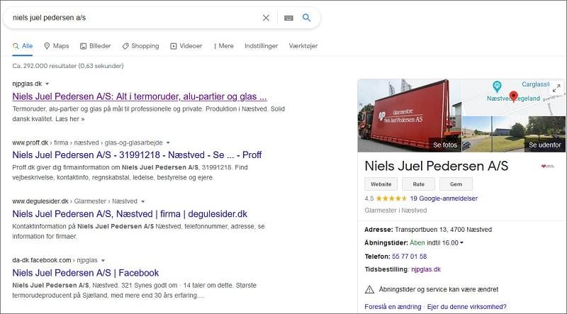 Eksempel på Google My Business profil. SEO-specialist Berit Bai