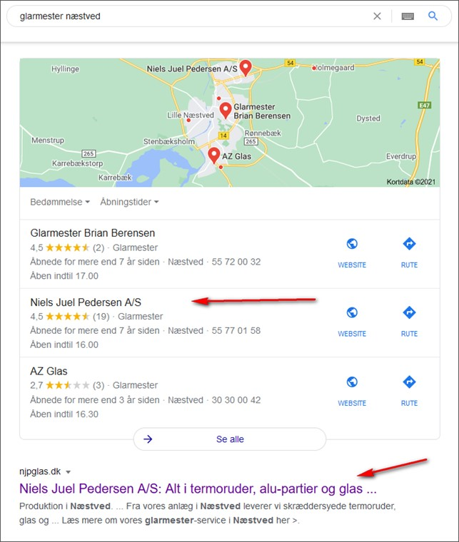 Eksempel på hvad er Google My Business - visning i SERP. beritbai.dk