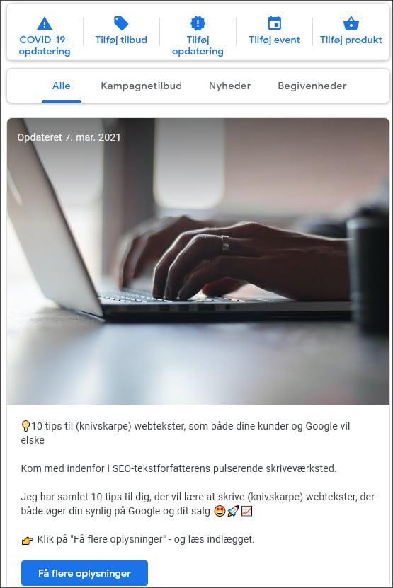 Eks. på opslag på Google My Business - Berit Bai