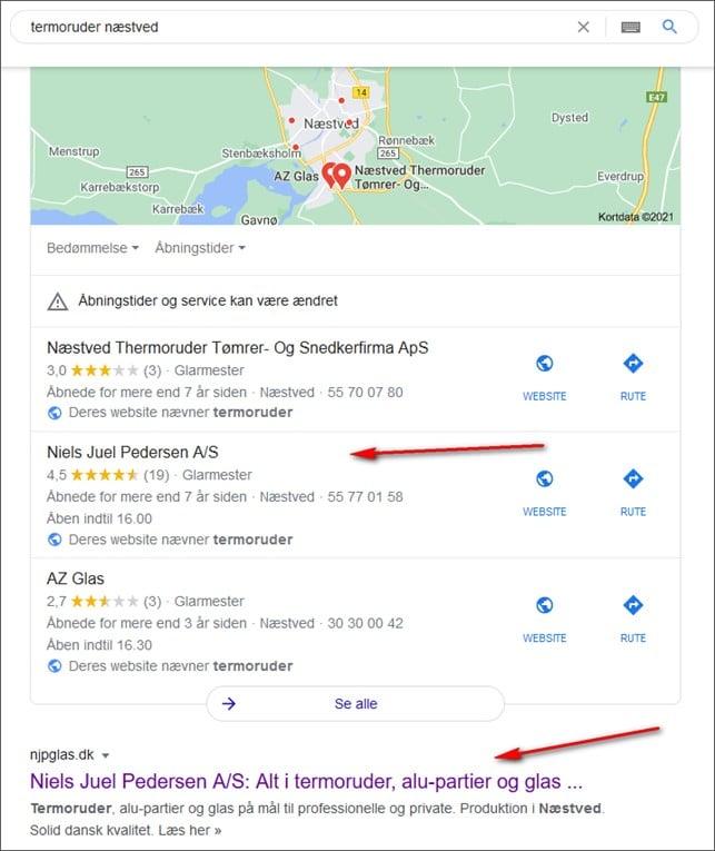 Map Pack i SERP - beritbai.dk
